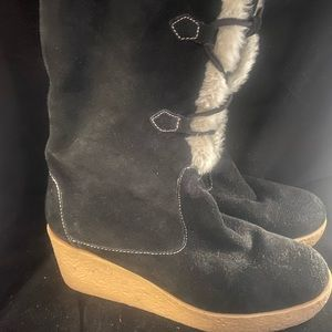 Michael Kors Black Suede Leather Sherpa Boots 8.5